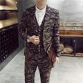 Hombres slim fit trajes trajes de novio 2015 hombre traje 3-piece últimas bragas de la capa diseños Camo trajes casual jacket + vest + pant