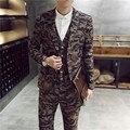 Moda masculina slim fit ternos trajes de novio 2015 hombre terno 3-piece mais recentes modelos casaco calça Camo casual suits jacket + colete + calça