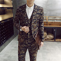fashion men slim fit suits trajes de novio 2015 hombre suit 3-piece latest coat pant designs Camo casual suits jacket+vest+pant