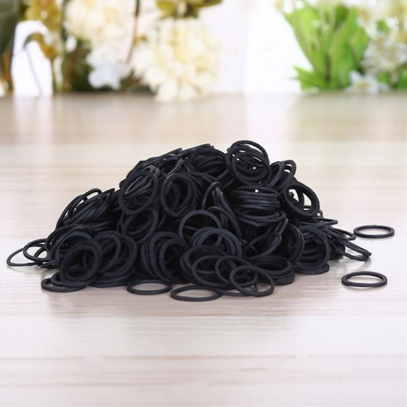 Black Elastic Bands Mini Rubber Bands for Kids Hair Braids Hair and School Office Home Supplies Stationery in Elastic Bands from Home Garden