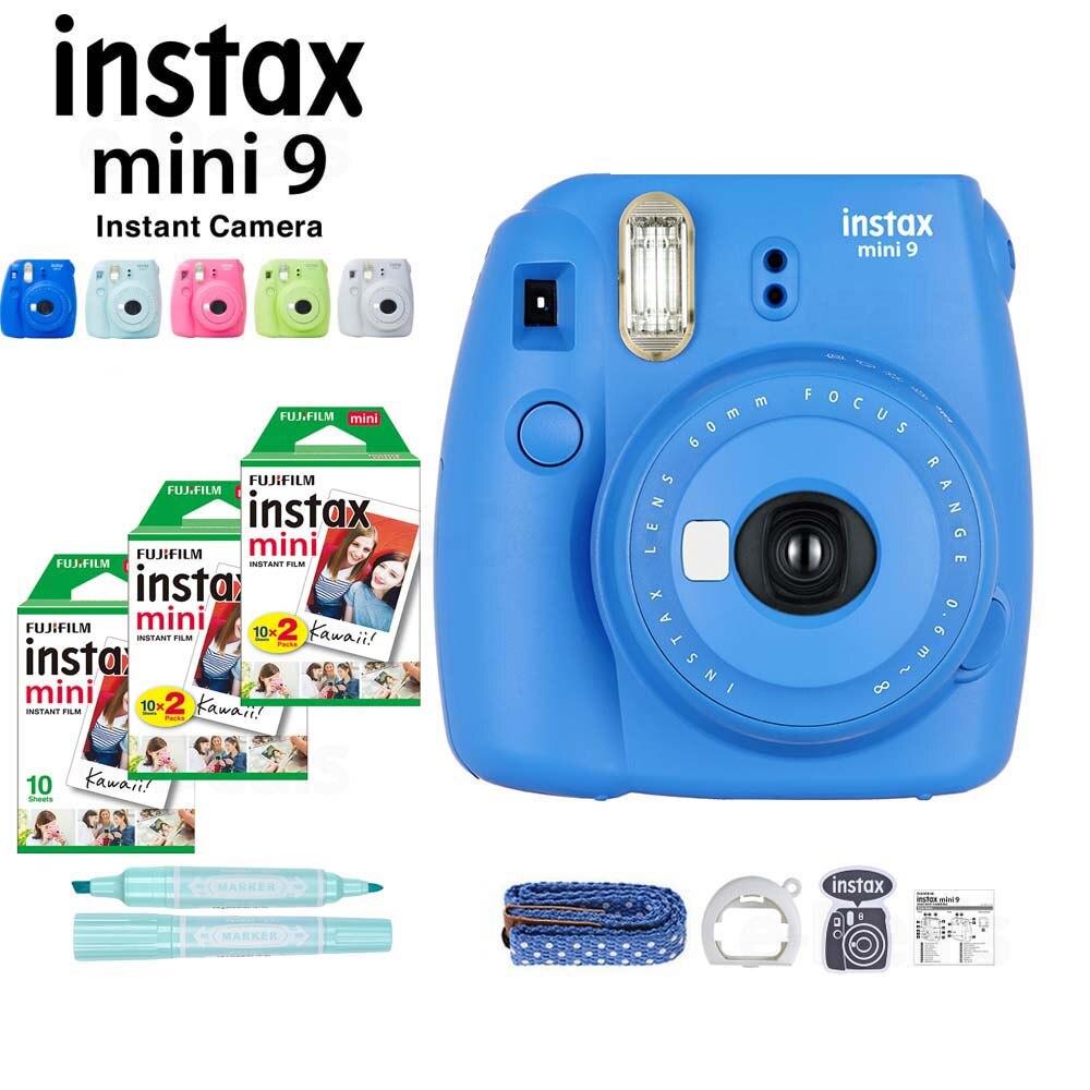 5 Colors Fujifilm Instax Mini 9 Instant Camera + 50 Sheets Fuji Instax Mini Film White Photo Paper + Marker+ Close Up Lens+Strap-in Film Camera from Consumer Electronics    2