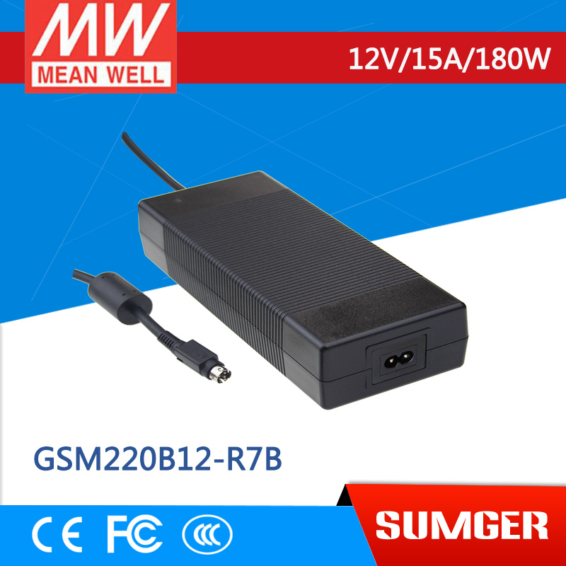 1MEAN WELL original GSM220B12-R7B 12V 15A meanwell GSM220B 12V 180W AC-DC High Reliability Medical Adaptor 1mean well original gsm160a24 r7b 24v 6 67a meanwell gsm160a 24v 160w ac dc high reliability medical adaptor