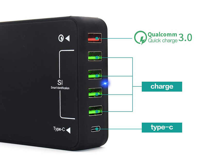 USB Charger, 60 W QC 3.0 TYPE C Desktop Charger: 6-Port USB Charging Station charger Hub, Beberapa USB Charger untuk Smartphone