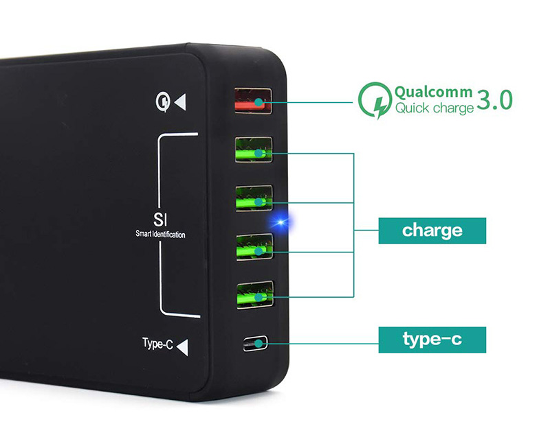 <font><b>USB</b></font> <font><b>Charger</b></font>, <font><b>60W</b></font> QC 3.0 Type C Desktop <font><b>Charger</b></font> : 6-Port <font><b>USB</b></font> Charging Station, <font><b>Charger</b></font> Hub, Multiple <font><b>USB</b></font> <font><b>Charger</b></font> for Smartphone image