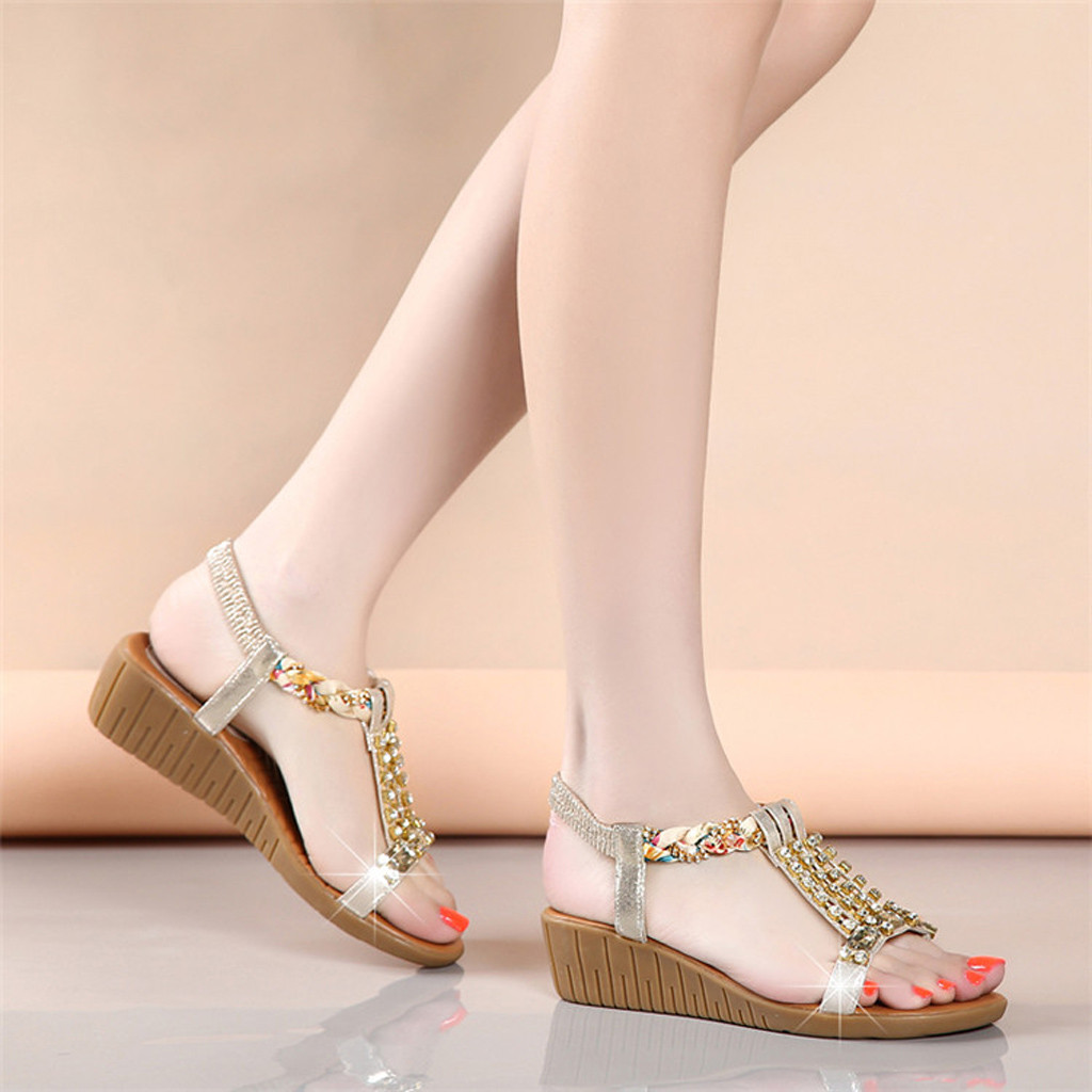 Wedges Sandals Shoes Crystal-Bling Bohemia Luxury Fashion Women Ladies Mujer Zapatos
