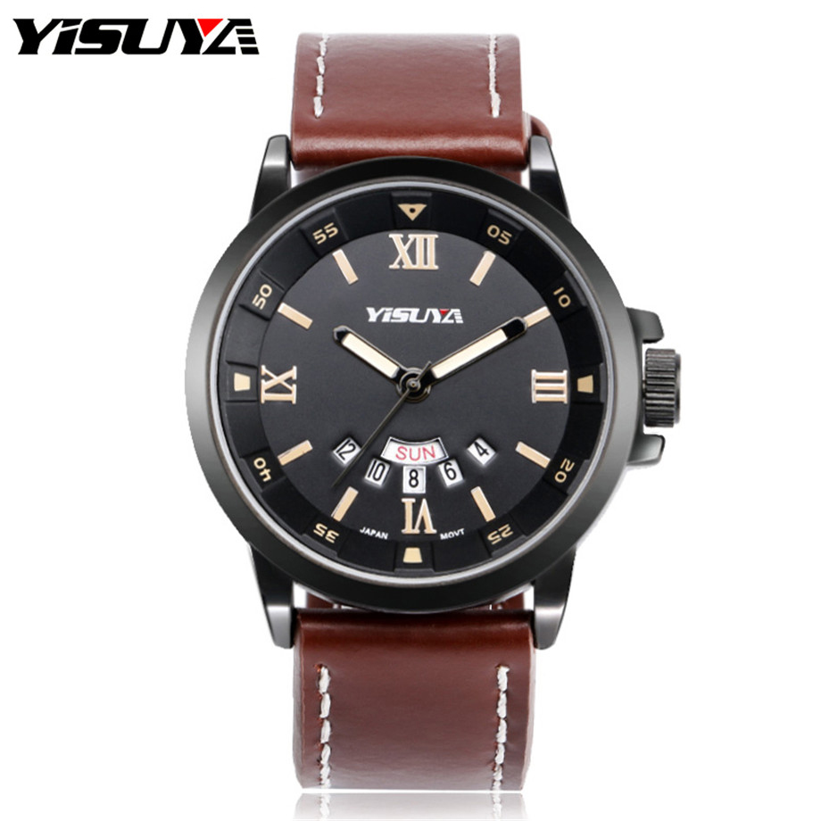 YISUYA Men Quartz Watch Roman Number Date-Day Japan Movement Mans Wristwatches Sport Cool Genuine Leather Band Army Male Clock