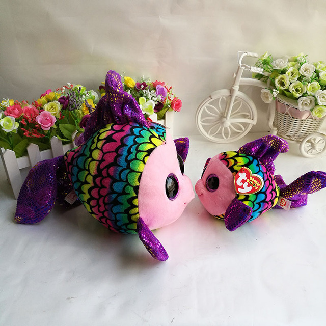 8746d354e3d Ty Beanie Boos Plush Toy 15cm   25cm Flippy Multicolor Fish Stuffed Animal  Doll Kids Toy Birthday Gift Hot Sale