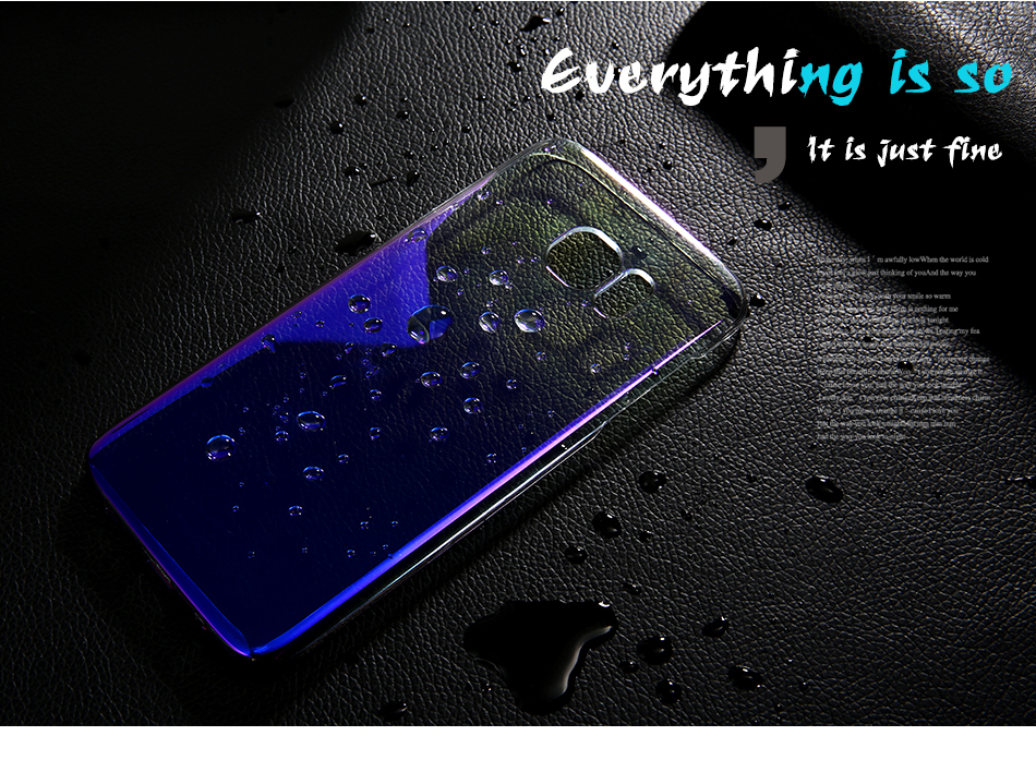 FLOVEME Cool Blue Ray Plastic Case For Smausng Galaxy S7  S7 Edge  S8  S8 Edge  S6  S6 Edge Gradient Color Plated Cover (1)