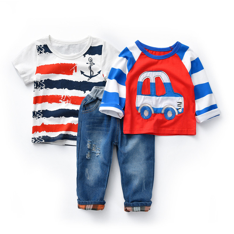 Kids Boys Clothes Sets 3 PCS Suits Child Car Long Sleeve Top + Short Sleeve T-Shirt + Hole Jeans Boys Children Cotton Clothing kids clothing sets 2015 winter new boys girls clothes bow tie t shirts pants boys clothes children long sleeve sports suits page 3