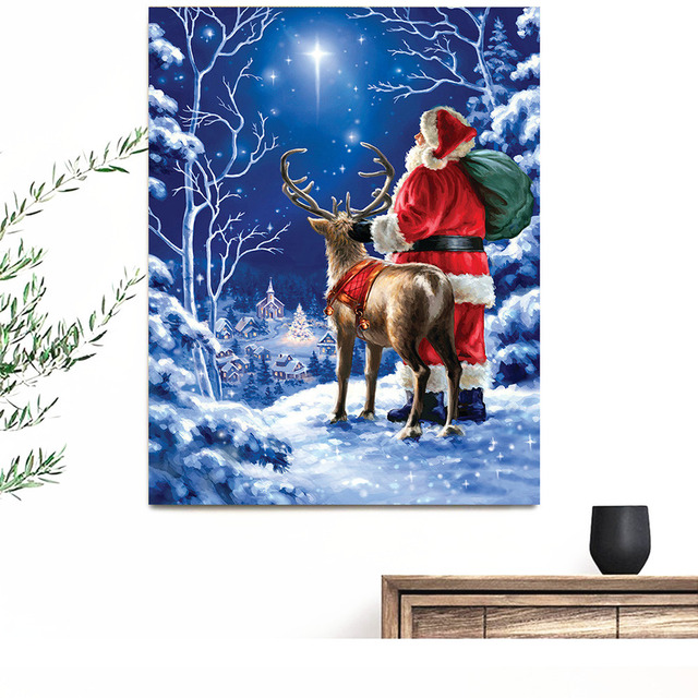 HUACAN Santa Claus Diamond Painting Full Square Embroidery Cross Stitch Diamond Mosaic Rhinestone Christmas Decorations For