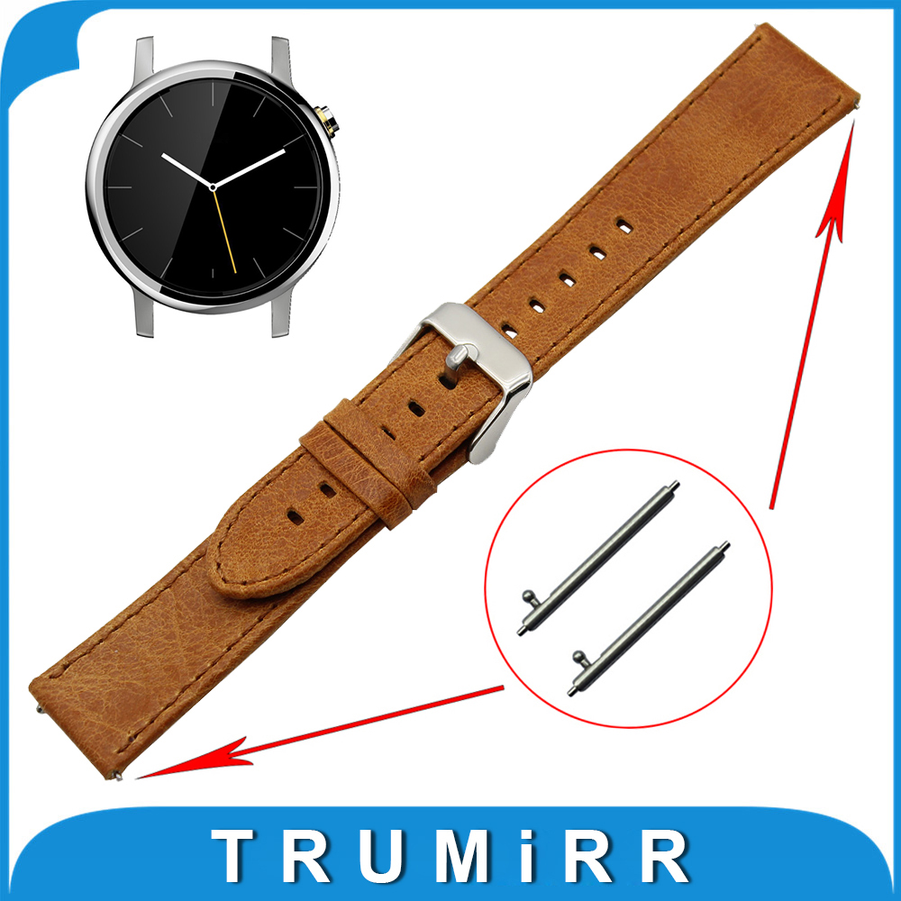20mm Genuine Leather Watch Band Quick Release Strap for Motorola Moto 360 2 42mm Men 2015  Replacement Wrist Bracelet Brown kimisohand classic fashion genuine leather watch band strap for motorola moto 360 2nd 42mm
