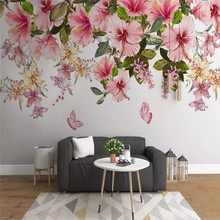 Modern 3d wallpaper hand drawn small fresh flower butterfly TV background wall custom mural photo