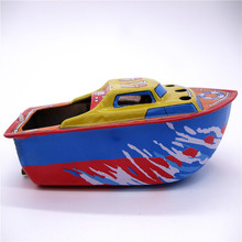 [Funny] Adult Collection Retro Wind up toy Metal Tin The steam boat Ship Mechanical toy Clockwork toy figures model  kids gift