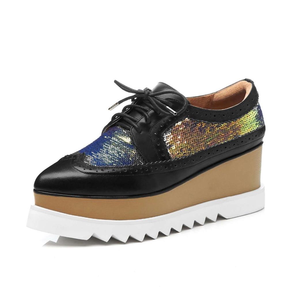 Lenksien в сдержанном стиле туфли на танкетке; обувь на платформе; обувь из кусочков кожи с острым носком на шнуровке женские туфли лодочки из натуральной кожи в стиле «панк», повседневная обувь для свидания, L18 - 5