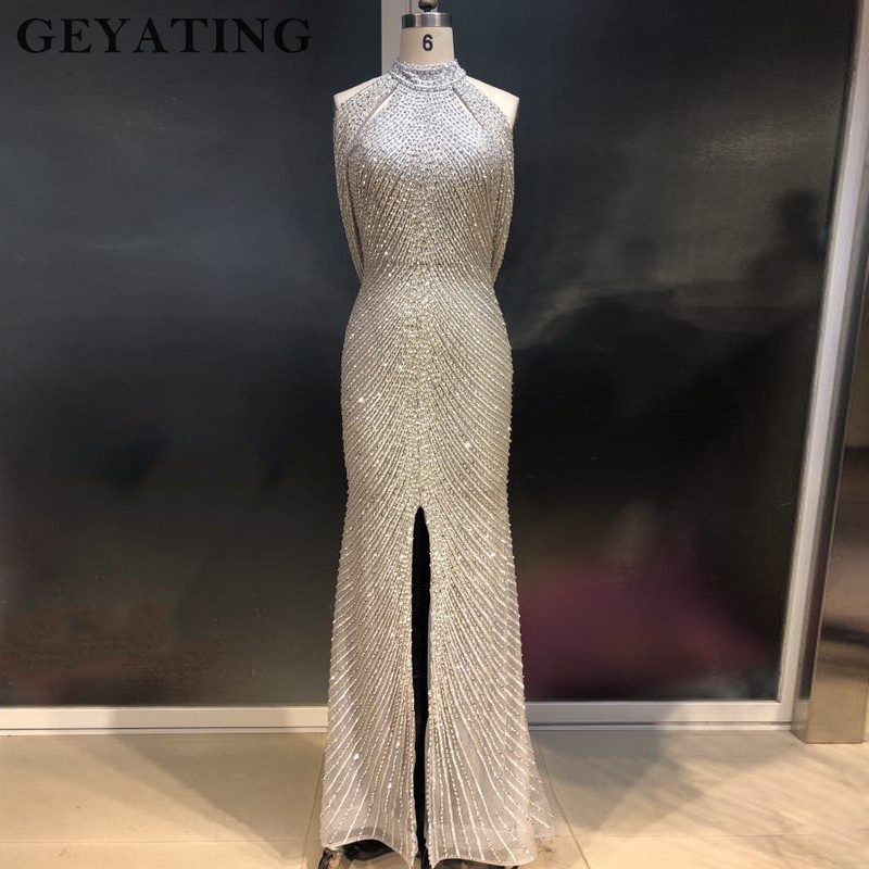 Luxury Crystal Beaded Mermaid   Prom     Dresses   2019 Sexy Front Silt High Neck Backless Long Formal Evening Gowns Vestideos de festa