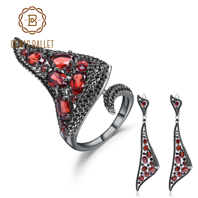 GEM'S BALLET 925 Sterling Silver Gothic Punk Jewelry Set For Women Natural Red Garnet Drop Earrings Ring Set Fine Jewelry