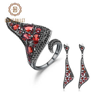 GEM'S BALLET 925 Sterling Silver Gothic Punk Jewelry Set For Women Natural Red Garnet Drop Earrings Ring Set Fine Jewelry - DISCOUNT ITEM  45% OFF All Category