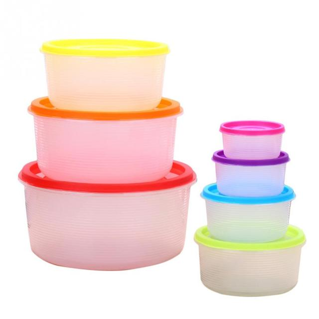 7pcs Stackable Nesting Food Storage Containers Coloured Lid Plastic