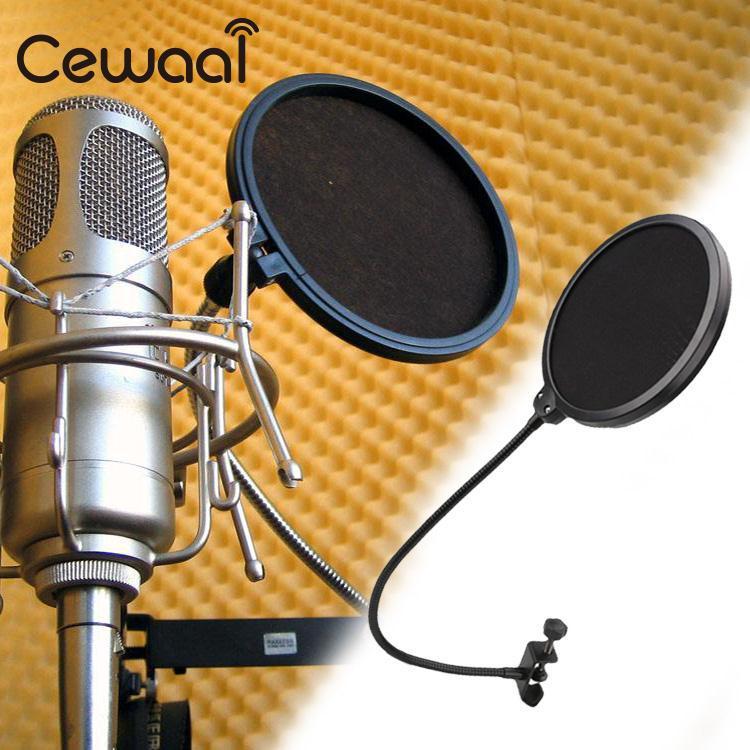 Cewaal Black New Flexible Studio Microphone Windshield Mic Pop Filter Shield For Speaking Accessories
