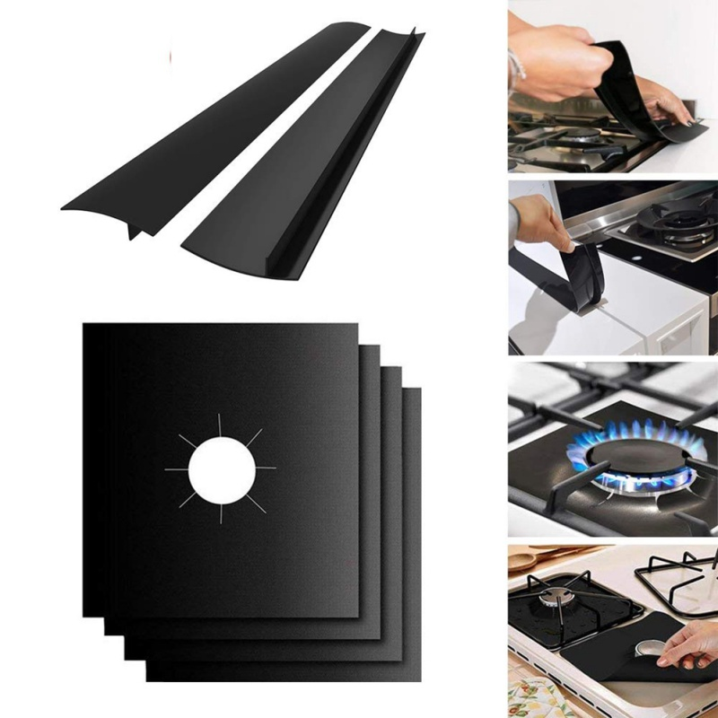 6pc Reusable Stove Burner Cover Liner Mat Fire Injuries Protection Trivets Stove Side Easy to Clean Kitchen Tools