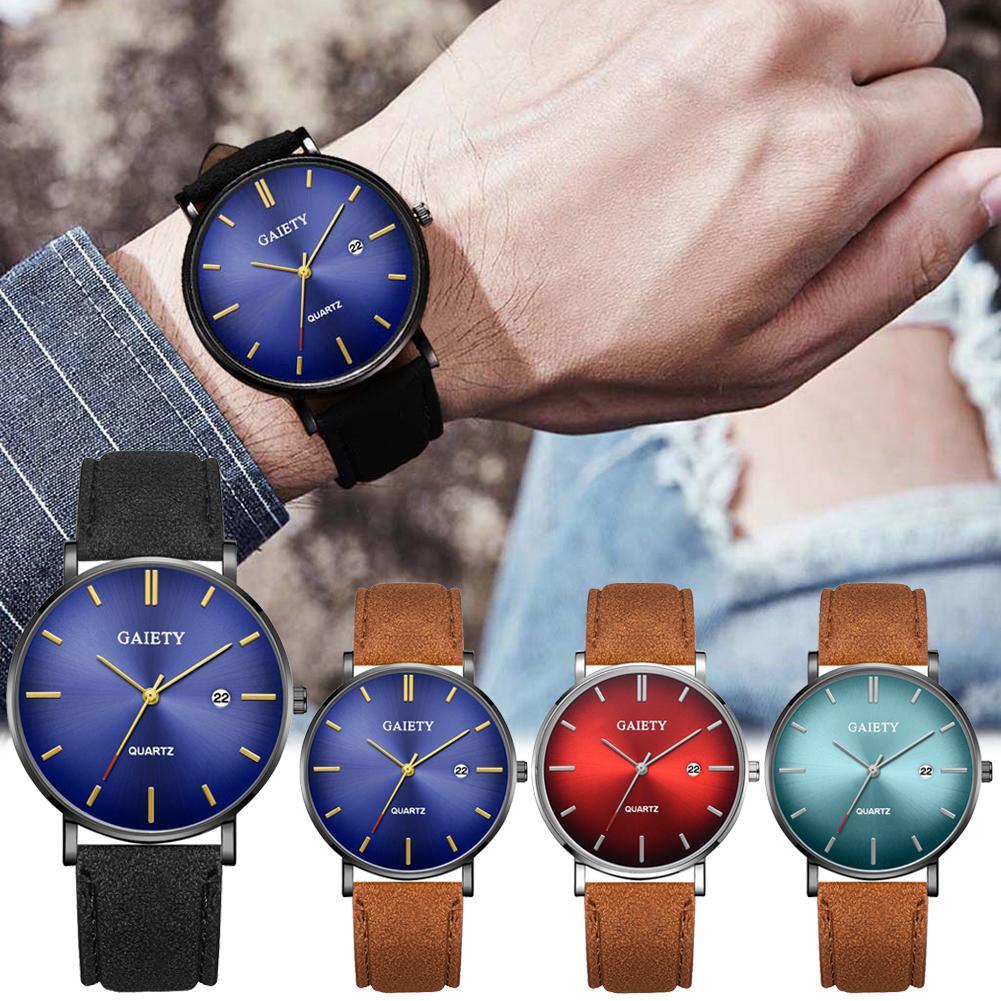 Sanwood Simple Men No Number Analog Big Round Dial Faux Leather Band Quartz Wrist Watch