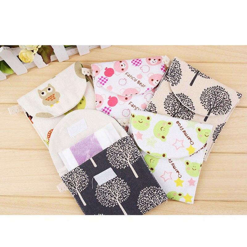 Hot Selling Lovely Charming Nice Brief Cotton Cartoon Sanitary Napkin Bags Sanitary Towel Storage Traveling Travel Bag -B5