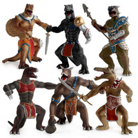 6 Styles Action Figure Dinosaur Warrior Soldiers PVC Model Toys Tyrannosaurus Rex Movable Gifts Home Decor For Kids Gifts F4