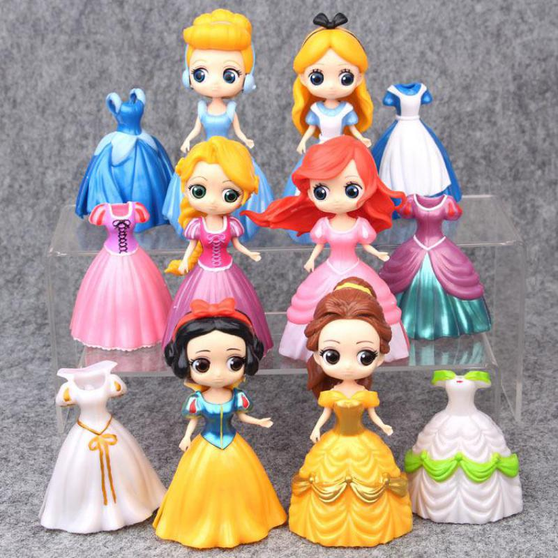 Change Dressing Princess Action Figure Toy Snow White Alice Cinderella Belle Ariel Mermaid Rapunzel Tangled Sleeping Beauty Doll