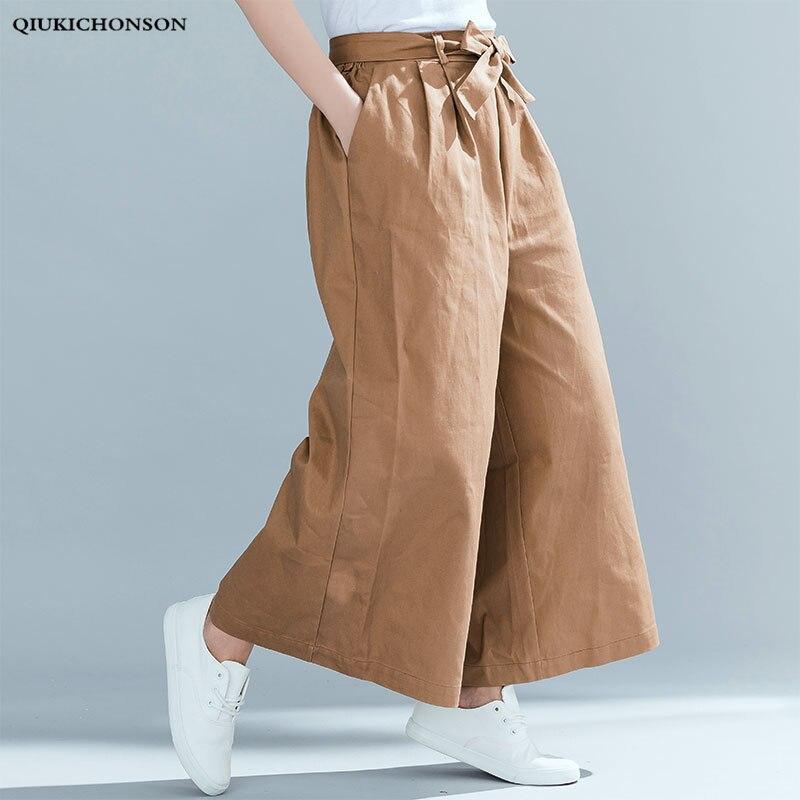 4eb4e6ddc8b Autumn Winter Wide Leg Pants Trousers Women High Waist Bow Lace-up Ankle- length. US  19.53. AZULINA Plus Size Women Wide Leg Pants Casual Loose High  Slit ...
