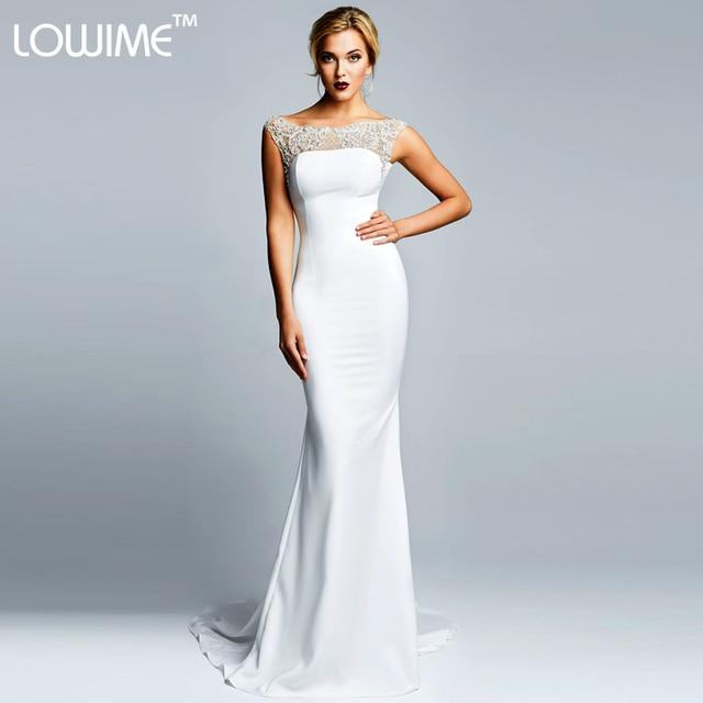 Vestido de Noiva Mermaid Scoop Long Train Wedding Dresses Bride Gown ...