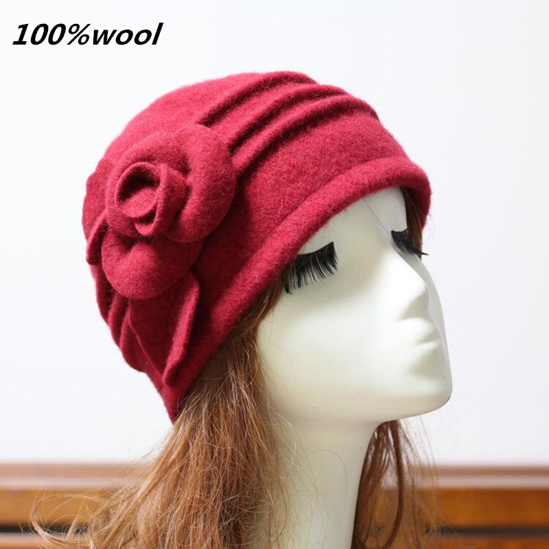 New Women Fedoras 100% Pure Wool Dome Winter Hats For Women Floral Casual Brand Warm Lady Autumn Floppy Soft Girls Fedoras 2017 brand kenmont new summer hats for women 100