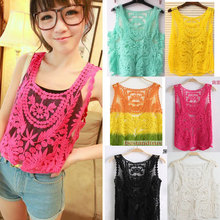 Nice New Lace Spring Autumn Sexy Women Lace Embroidery Floral Crochet Blouse Shirt Fashion Women Sleeveless Tank Pops Blouse