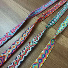 Double-sided Woven Webbing 1cm width High Tenacity Polyester Geometric patterns Colorful Ribbon For Garment 5yards