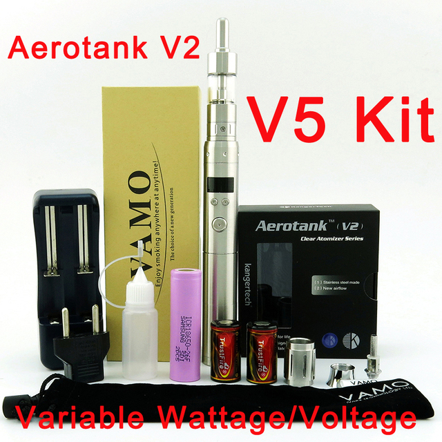 2600mAh VAMO V5 Electronic Cigarette Kit with Authentic Aerotank V2 Clear Atomizer Adjustable Airflow/Stainless Steel E-cig
