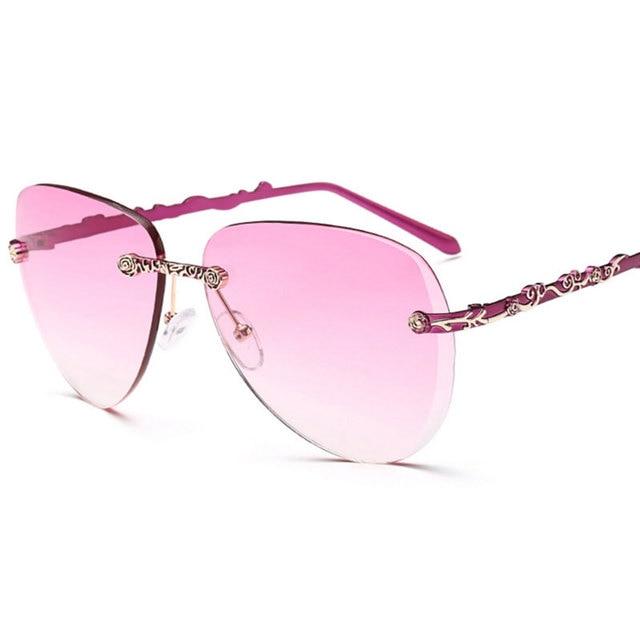 823ad1f9f6 Sunglasses Women Brand Designer Rimless Sunglasses Lentes Anteojos De Sol  Mujer Luxury Retro Rose Gold Sun