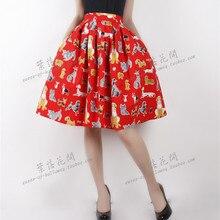 f9dd5e63272 pinpin daisy women vintage 1950s red dog print high waist pleated swing  skirt cotton