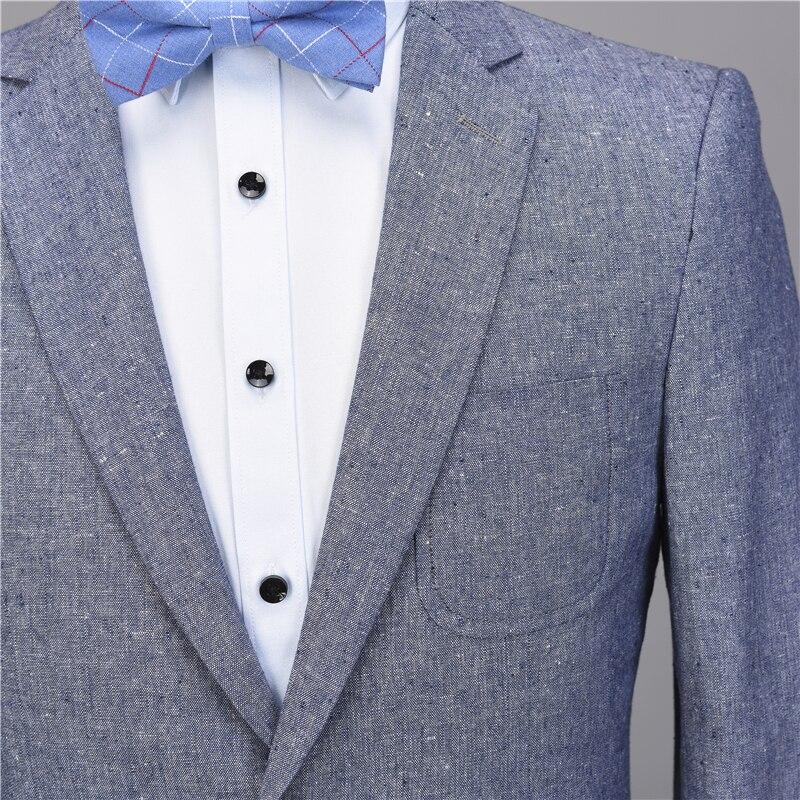 NA56 Light Blue Linen Casual Custom Tuxedo Men Suits Slim Fit Blazer Latest Coat Pant Designs 2 Pieces Terno suit Jacket+Pants