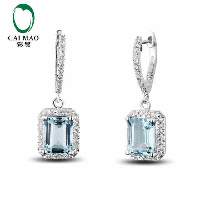 Caimao 2 98 Ct Natural Aquamarine 14kt 585 White Gold 0 35ct Round Cut Diamond Wedding