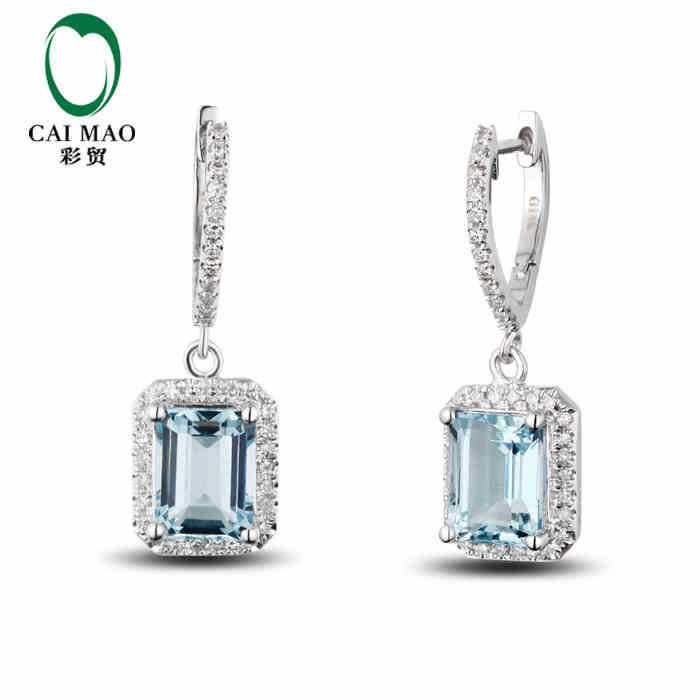 CaiMao 2.98 ct Natural Aquamarine 14KT/585 White Gold 0.35ct Round Cut Diamond Wedding Earrings Jewelry Gemstone