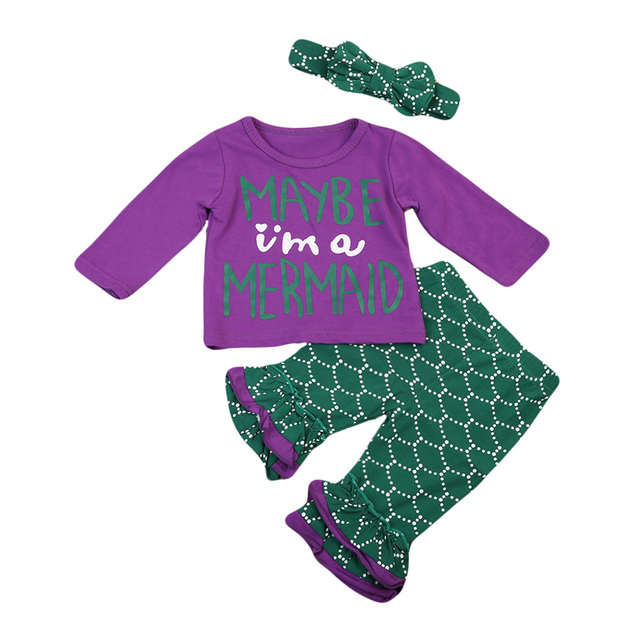 be938e60c743f 3PC Kids Baby Girl Clothes Set Letter Long Sleeve T-shirt Fish Scale Mermaid  Pants Leggings Outfits Set Maby I'm a mermaid