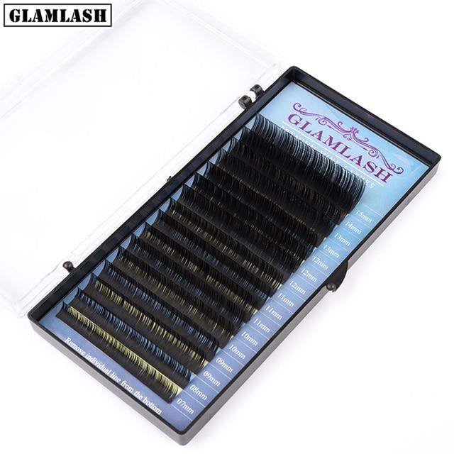 GLAMLASH Mix 7~25 mm 16 lines handmade korean pbt eyelash extension natural soft faux mink eyelashes 25mm lashes for extension