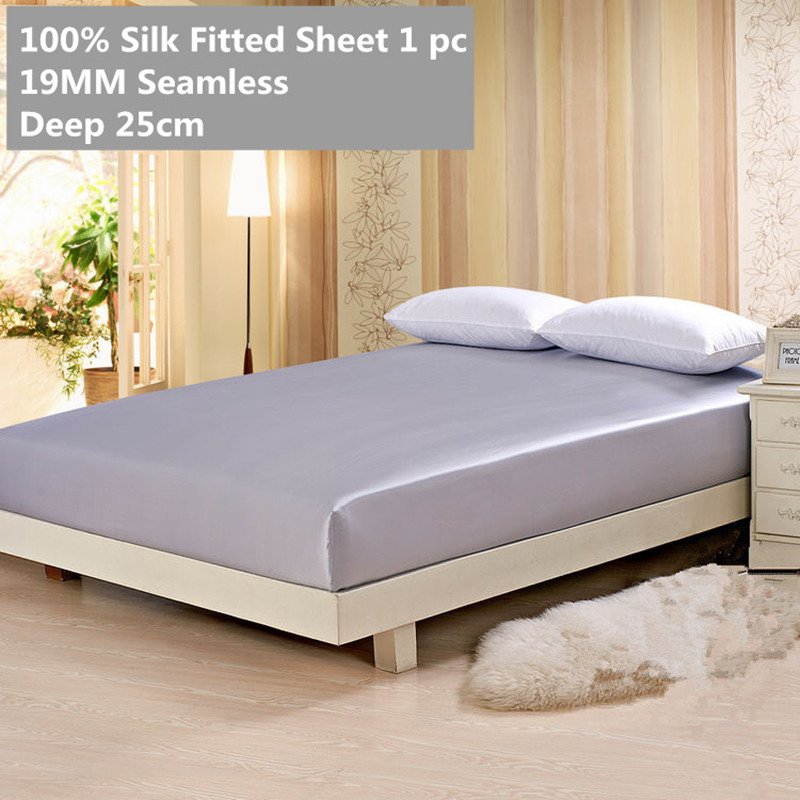 Silk Fitted Sheet Deep 25cm 19MM Seamless 100% Mulberry Soft Sheet Solid Color Multicolor Multi Size ls030019004