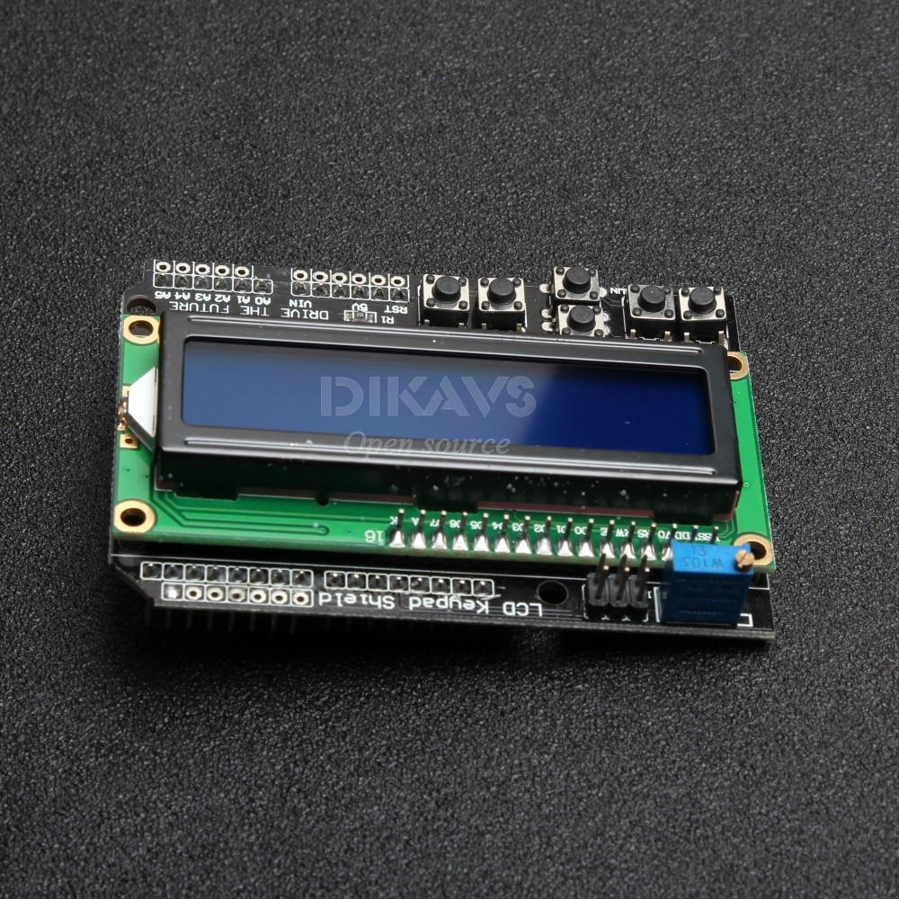 DIKAVS LCD Keypad Shield 16x2 Character Display For Arduino