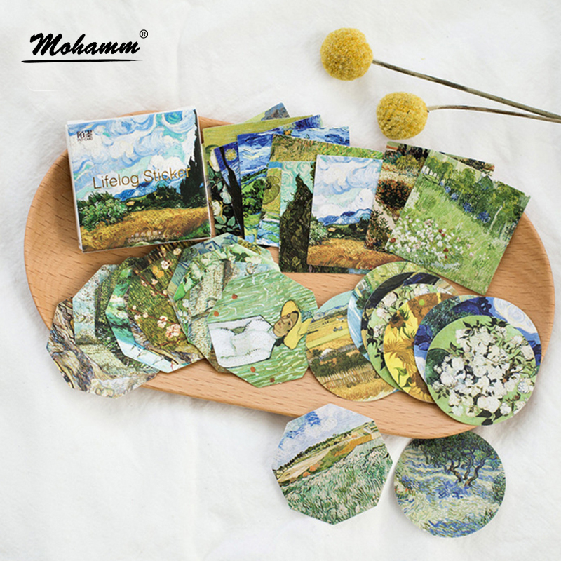 4 Box/lot Van Gogh Oil Painting Mini Paper Sticker Decoration Diy Ablum Diary Scrapbooking Label Sticker Stationery