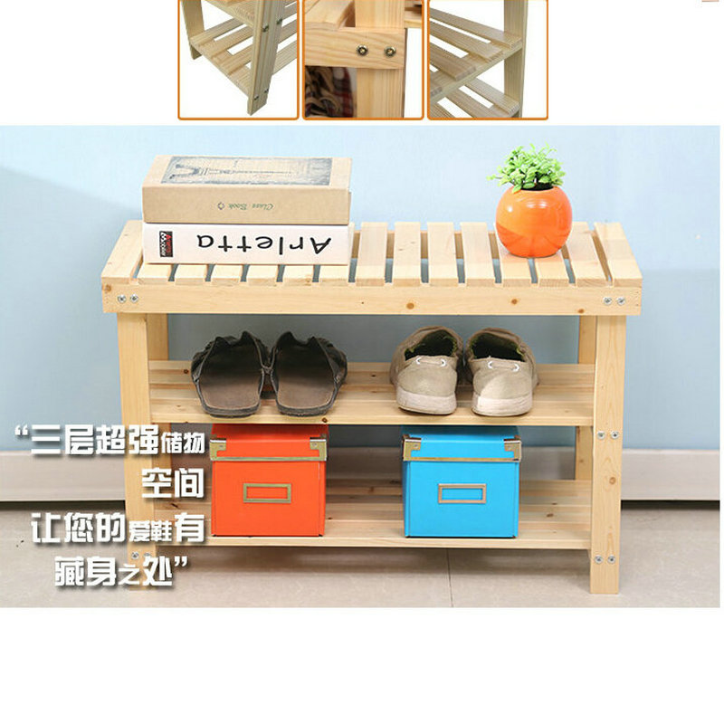 1PC/LOT Solid Pine Wood Three Levels 70X29X46CM Shoes Rack Shelf Storage Footstool Bench Nature Color Without Painting 50cm nature color pine solid wood shoes rack shelf storage shoe changing bench green healthy