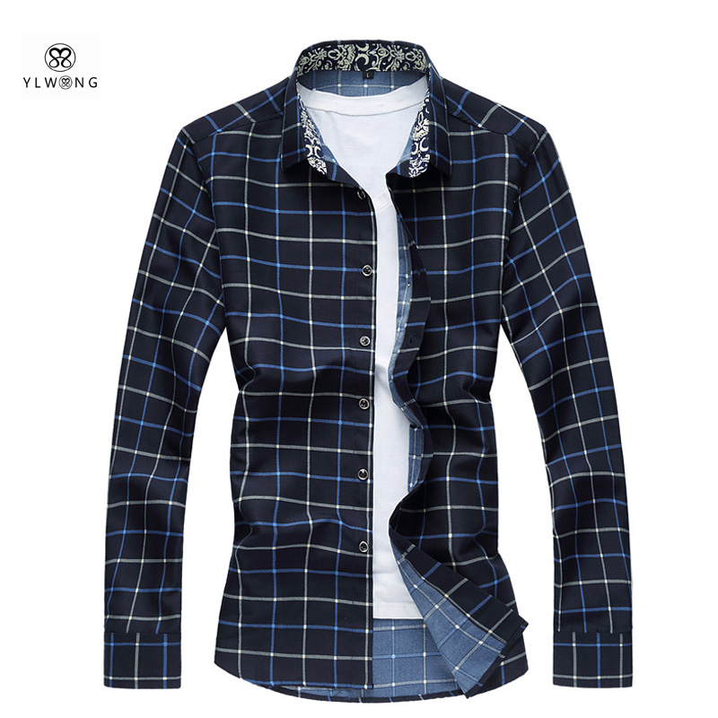 YLWONG Luxury Brand Men Shirt Plaid Long Sleeve Casual Men s Clothing font b Tartan b
