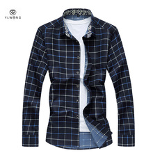 YLWONG Luxury Brand Men Shirt Plaid Long Sleeve Casual Men's Clothing Tartan Shirt For Boys 5XL 4XL Red