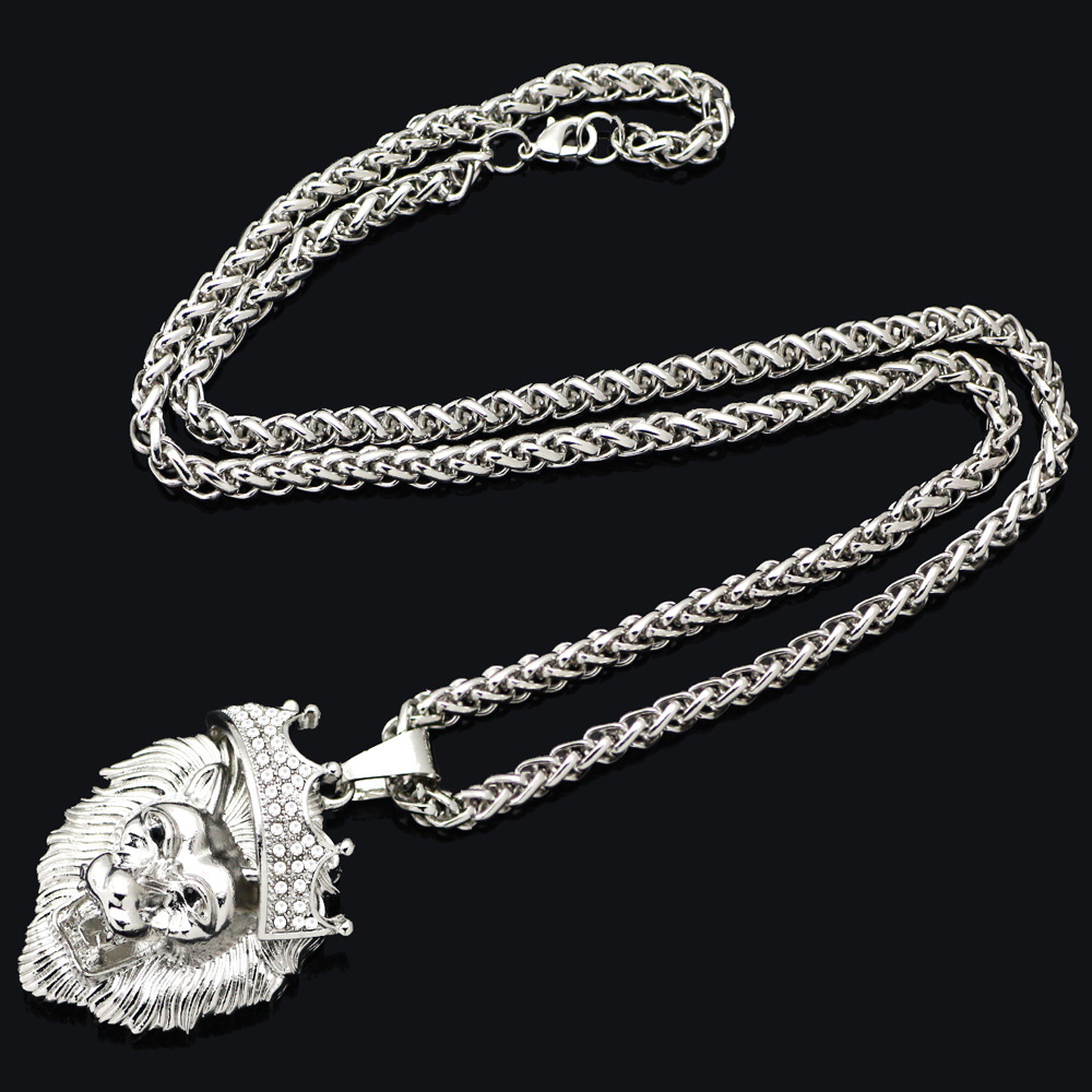 Hip hop big lion head necklace pendants animal king vintage gold hip hop big lion head necklace pendants animal king vintage goldsilver color hiphop chain for menwomen jewelry gift in pendant necklaces from jewelry aloadofball Images
