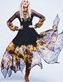 2016 Boho Женщины Летнее Платье Sexy Шифон Платья Полный Рукавом V-образным Вырезом Длинное Платье Чешские Цветочный Печати Платье