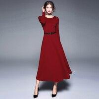 Vintage Women Dress New 2017 Autumn Winter Long Sleeved Mid Calf Black Long Robe Elegnat Ladies